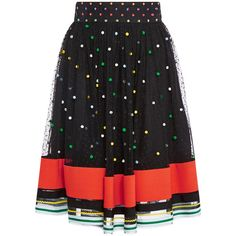 Mary Katrantzou Snow Sparkle Skirt with Striped Hem ($421) ❤ liked on Polyvore featuring skirts, mary katrantzou, multi, patterned skirts, stripe skirt, floral print skirt and striped floral skirt