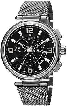 Akribos XXIV Men's AK772SSB Analog Display Swiss Quartz Silver Watch