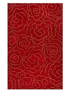 Soho Rugs Abstract Floral Rug (Red/Brown)