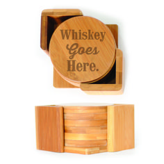 Round Wood Coasters (6) - Whiskey goes Here