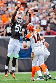 Cleveland Browns linebacker Barkevious Mingo (51) tips a pass from Cincinnati Bengals quarterback Andy Dalton