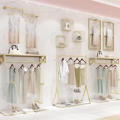 Online Shop Golden clothes shelf clothing store in the island frame double-sided women's clothing store bag display rack floor double row. Boutique Interior, Clothing Store Interior, Clothing Store Displays, Clothing Store Design, Shop Interior Design, Womens Clothing Stores, Women's Clothing, Baby Store Display, Bag Display