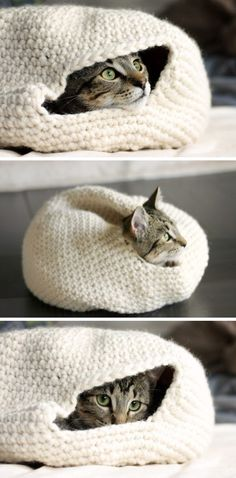 Easy Crochet Cozy Nest for Your Cat. More