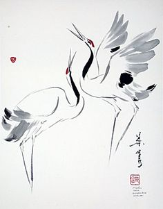 "Ning Yeh. ""Courtship Dance""  Dancing cranes symbolizing the sheer ectasy of the dance of courtship http://www.ningyeh.com/gallery/2cranes.php"