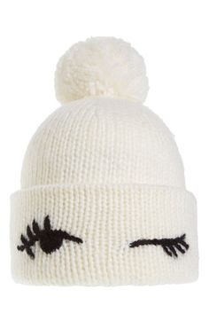 Give a wink to whimsical fashion with this pompom-embellished beanie knit in a wool-softened blend by Kate Spade:. This isn't a knitting pattern, but it wouldn't be too difficult to figure out. Crochet Baby, Knit Crochet, Diy Accessoires, Whimsical Fashion, Beanies, Autumn Winter Fashion, Fall Fashion, Knitted Hats, Knitting Patterns