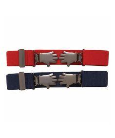 Another great find on #zulily! Navy & Red Hand Belt Set #zulilyfinds