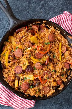 Sausage, Pepper, & Rice Skillet — Smoky kielbasa sizzled with sweet bell pepper, onions and garlic in vibrant tomato sauce. This sausage, pepper and rice skillet is downright delicious! Rice Recipes, Pork Recipes, Healthy Dinner Recipes, Chicken Recipes, Cooking Recipes, Healthy Food, Kielbasa Recipes Rice, Healthy Sausage Recipes, Bratwurst Recipes