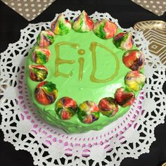 Last year Eid Cake, Chocolate cake with mint butter cream , I decorated with meringue 😋😋