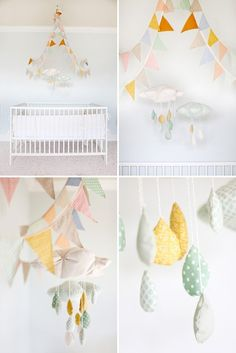 maybe hang the bunting like this?  I like the rain drop mobiles