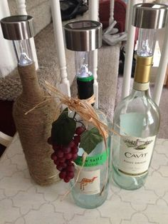 Our Crafty Mom: Wine Bottle Solar Lights Such a great idea for making some outdoor lighting for the patio.... by keisha