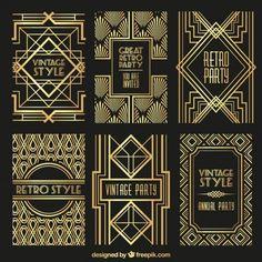 Ouro retro posters Vetor grátis