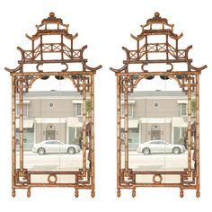 Pair of Chinese Faux Bamboo Pagoda Mirrors