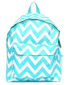 Monogrammed Backpack Aqua Chevron Girls by DoubleBEmbroidery, $22.95