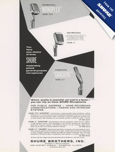 A trio of classic Shure mics (Monoplex, Sonodyne, and Gradient) in an ad from 1956.