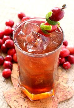 This Rum Harvest Cocktail is flavored with fresh lime and cranberry juice!