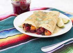 cranberry, sweet potato, and black bean enchiladas