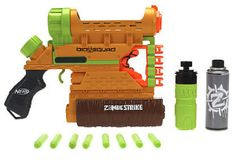 nerf zombie strike blaster biosquad - this Zombie Strike blaster shoots darts, foam, or water. This thing is bananas!
