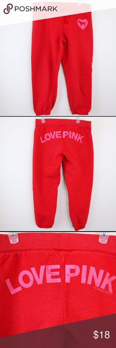 """PINK Victoria's Secret Sweatpants 💕 Victoria's Secret PINK Sweatpants. Cropped around the ankle. """"Love Pink"""" written on butt area. It's a red colored sweatpants (picture makes look a little more pink colored). Inside is worn & matted down some) but outside is in great condition! 60% cotton 40% polyester. Super Girly & Cute 💕 PINK Victoria's Secret Pants Ankle & Cropped"""