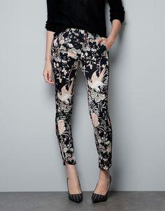 Zara Oriental Print Trousers