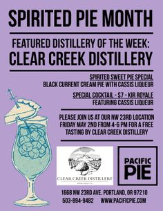 Join us Friday May 2nd for a free tasting by Clear Creek Distillery at our NW 23rd Location!