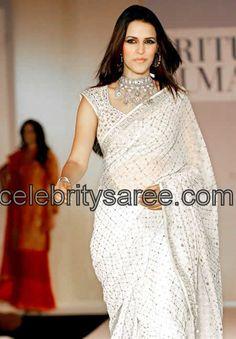 Neha Dhupia in Mirror Work Saree - Saree Blouse Patterns