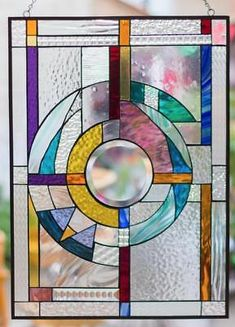 Items similar to Tiffany Stained Glass Window Frank Lloyd Wright Abstract Window Panel Suncatcher Beveled Center by inches. Faux Stained Glass, Stained Glass Lamps, Stained Glass Designs, Stained Glass Projects, Stained Glass Patterns, Stained Glass Windows, Window Glass, Modern Stained Glass Panels, Mosaic Windows