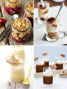 Not everyone likes cake and nothing says you must have cake at your wedding try Cherry Crisp in Jars,Tiramisu in shot glasses, Coconut + Lime Macaroons with Custard, andMini Donuts with Hot Chocolate