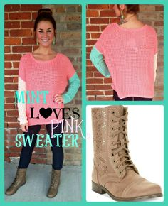 """Mint Loves Pink Sweater"" & combat boots available at Frolic Boutique! 