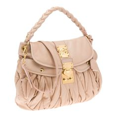 766f0755ca07 PALE PINK - Matelassé nappa leather hobo bag Braided handle Polished brass  hardware Detachable shoulder strap Flap closure with Miu Miu lock Keychain  for ...