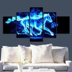 DIY Blue Horse Running Fire Diamond Embroidery Painting Animal Mosaic Full Drill Round Diamond Painting Cross Stitch Diamond