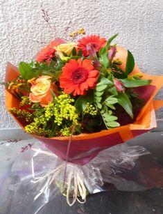 Autumnal handtie bouquet in orange Gerberas, red Alstromeria and peach Roses, with yellow Solidago. Autumnal, Orange, Yellow, Bouquets, Planter Pots, Roses, Peach, Seasons, Create