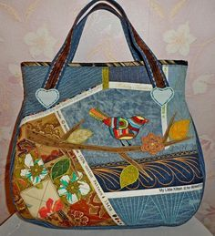 OK Patchwork Bags, Quilted Bag, Crazy Patchwork, Patchwork Patterns, Bag Patterns, Fabric Handbags, Purses And Handbags, Bag Pattern Free, Embroidered Bag