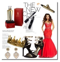 Mermaid-Stil aus Tüll Herz-Ausschnitt Bodenlang Schnürung Rote Abiballkleid by johnnymuller on Polyvore featuring Stuart Weitzman, Miguel Ases and Cartier