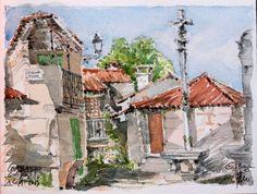 "Praza da Fonte, bourg de Combarro, avec le ""cruceiro"" typique de Galice. aquarelle, graphite papier Arches, 300g, grain torchon"