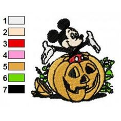 pumpkins with designs | ... Embroidery Designs » Mickey Mouse with Pumpkin Embroidery Design