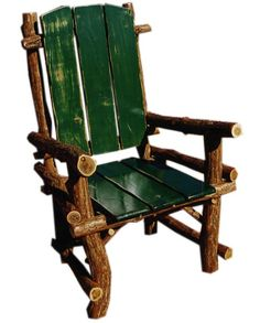 love this rustic wood branch chair with the painted seat and back.