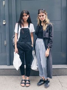 Overalls and stripes - perfect for transitional dressing