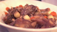 Slow Cooker Coq Au Vin - will need to leave out the garlic, but this looks wonderful! Think of the aroma!