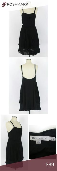 """See by Chloe chiffon pleated little black dress IT 44 US 8. See by Chloe chiffon pleated black dress. Spaghetti straps. Tiered styling skirt. Side zip. Lined. Like new condition, no flaws. 100% polyester. Cotton lining. Approx measurements Bust 31"""" Length 38"""" Waist 32.5"""" Hips 38"""".  Approx knee length to below knee.  ***Pictures do not do this dress justice! See by Chloe Dresses"""