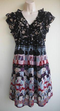 YUMI Dress Size Large Cherry Blossoms Geisha Japanese Black Beige