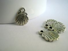 Silver Tone Shell Charms    1202 by 2MoonswithCharm on Etsy