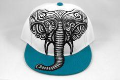 Elephant Snapback Hat, Hand Painted Elephant Hat, Gray Elephant, Alabama Crimson Tide Elephant, Wearable Art, Color Choices, Snapback Hat