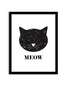 Free Printable Sequin Cat Wall Art from @chicfetti