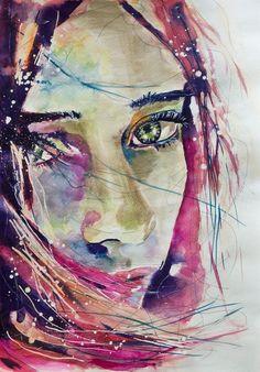 """Saatchi Online Artist: Sonja De Graaf; Watercolor 2012 Painting """"Lost in her own universe #2"""""""