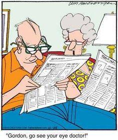 Putting on 2 pairs of glasses is not a solution... Optometry Humor, Optometry Office, Old People Cartoon, Eye Jokes, Eye Exam, Eye Doctor, Mundo Comic, Get Well Cards, Good Jokes