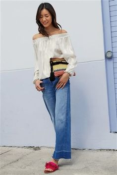 Buy Bright Blue Wide Leg Ankle Length Jeans from the Next UK online shop