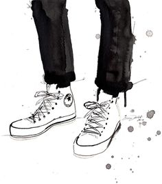Print from original watercolor and pen fashion illustration by Jessica Durrant titled, Chucks in the City. $23.00, via Etsy.