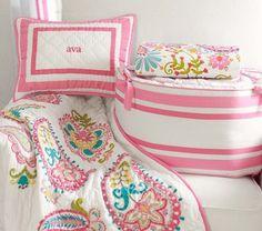 pottery barn baby girl bedding grey pink - Google Search