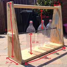Bella's Bottle Game  Measurements are in centimeters. This game was made for a Belgian Malinois, height 58 cm, make sure you make your version smaller if your dog needs it to avoid back problems etc.