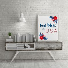God Bless the USA Entry Wall Art|July BBQ|4th July Decoration|Mud Room Wall|Cubicle Art Print|America Red White Blue|God Bless the USA| by MetanoiaPrints on Etsy  #metanoiaprints #metanoiamindset #makingmetanoia #flashsale #growthmindset